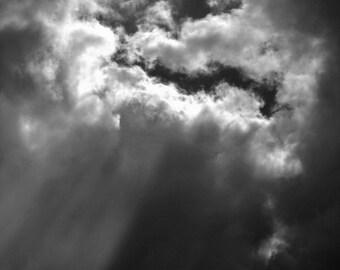 Cloudbreak,weather,nature,black&white,digital download photograph