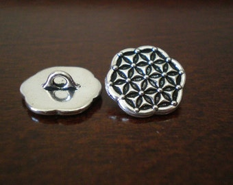 "3 - TierraCast Flower of Life Metal Buttons with Shank  5/8"" (16mm)"