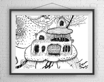 Spooky Tree House / Tree House Art Print / Tree House Illustration / Treehouse of horror / Halloween Decor / Halloween Art