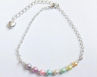 Multi Coloured Rainbow Glass Pearl Beads & Love Heart Silver Belcher Bracelet