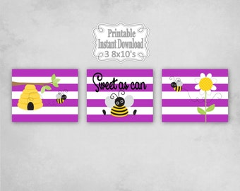 Printable Bumble Bees Baby Nursery Wall Art Decor in Purple Yellow Black Bumblebees Baby Child Kids ~ DIY Instant Download ~ 3 8x10 Prints