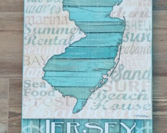 Jersey Shore Wood Sign (LARGE) / New Jersey State Sign / Jersey Shore Art / Beach House Sign / Beach Themed Gift