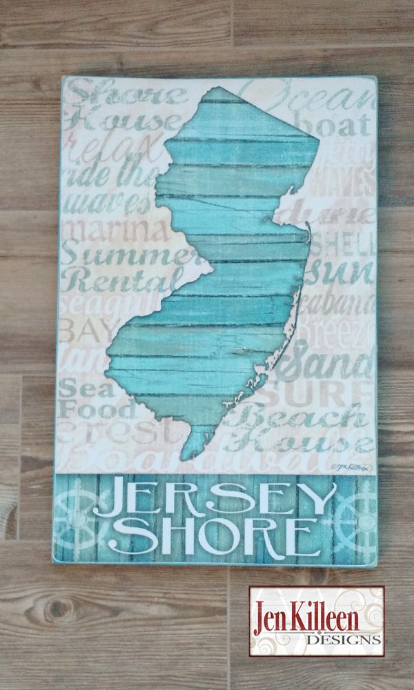 Jersey shore wood sign large new jersey state sign for Adam and eve salon austin