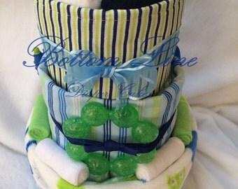 Diaper Cake - Blue Striped Safari