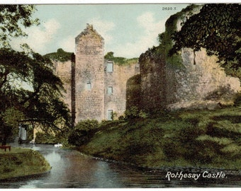 Vintage Rothesay Castle, Scotland Used Postcard (1905)