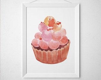 Cupcake print Watercolor art Food poster Kitchen print ACW613