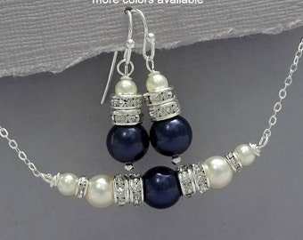 Swarovski Ivory and Navy Bridesmaid Gift Jewelry Set, Mother of the Bride Jewelry, Maid of Honor Gift Bridesmaid Gift, Navy Jewelry Set