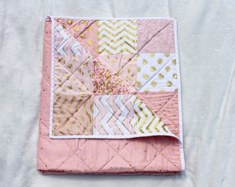 Baby Blanket Baby Quilt Pink White Gold Quilt By