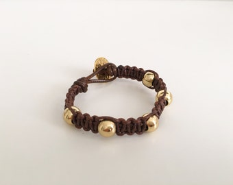 Woven Brown and Gold Bracelet
