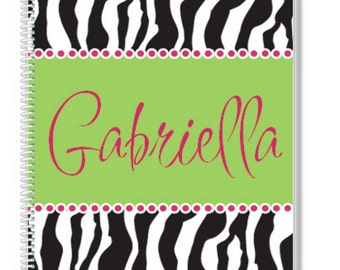 Personalized Zebra Notebook. A cool Kids Notebook, but also a great Adult Notebook. Our Custom Notebooks make a great Birthday Gift.