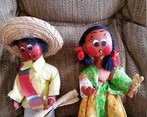 vintage handmade handpainted mexican folk art gourd dolls - paper mache style 10 inch - primitive mexico southwestern sombrero culture