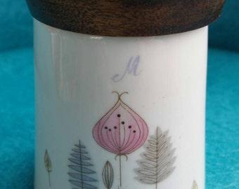 Vintage, Mid Century Modern, Condiment Jar, sugar bowl, salt and pepper, honey pot, relish jar, jelly jar, teak, walnut,