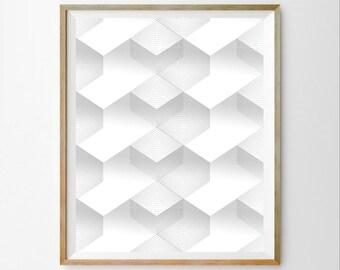 White digital art White wall print White minimalist art White geometric art White wall art décor White wall art print White modern print