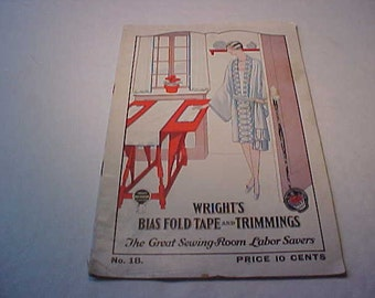 Wright's Bias Fold Tape and trimmings Booklet No. 18 1920's Free Shipping