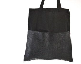 Shopper, Jute Bag, Black artificial leather, Bag, Cotton bag