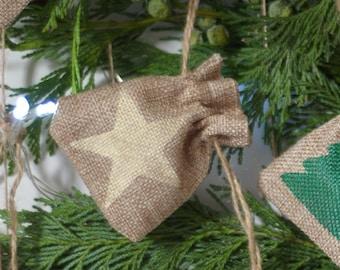 Gold Christmas star mini gift bag hessian jute burlap. Tiny blue bag. small santa sack. Stocking stuffer. Money gift bag. Jewellery gift bag