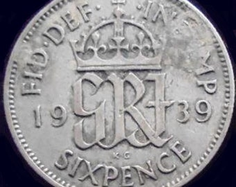 1939 GREAT BRITAIN SILVER 6 Pence (Very Fine)