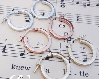 Ladies Fine 9ct Gold 1.6cm Hoop Earrings in Rose, White & Yellow