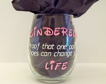 Swarovski crystal wine glass,  Cinderella... Proof that one pair of shoes can change your life!