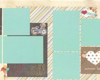 12x12 HELLO SUMMER scrapbook page kit, premade scrapbook, 12x12 premade scrapbook page, premade scrapbook page, 12x12 scrapbook layout