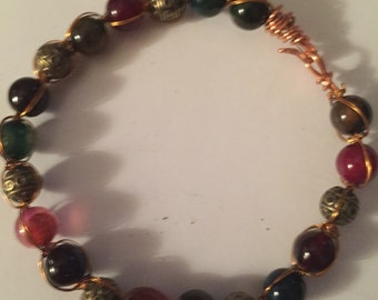 Agate and brass bead with copper wire bangle bracelet