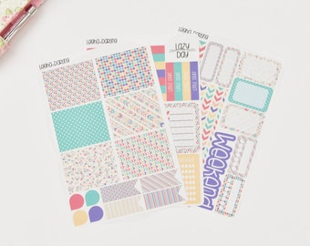 K09-Bright Neon Geometric Kit Planner Stickers