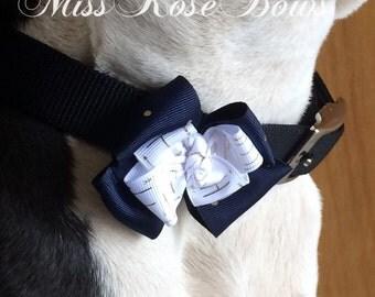 Blue Dog Collar Bow-White Dog Collar Bow-Blue and White Dog Collar Bow-Dog Collar Bow Blue and White