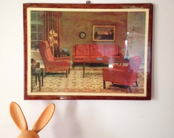 Rare Vintage 60's Interior Framed Photograph