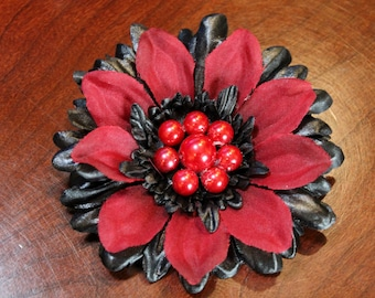 Black and Red Flower Hair Clip