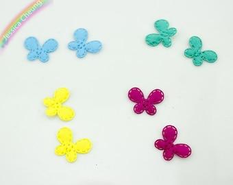 200pcs Kawaii Tiny Butterfly Appliques Cut Outs Satin Fabric Butterflies 15mm*11mm Baby Shower Gift Embellishment, Scrapbooking, Card Decor