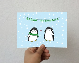 Cute Penguins Holiday Card
