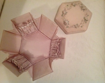 Hexagon silk embroidered sewing box