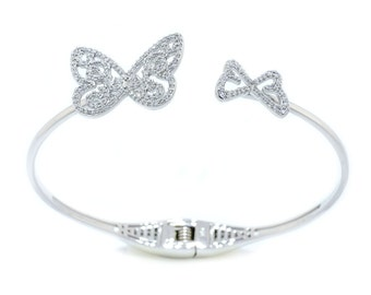 925 Sterling Silver Butterfly Open Bangle - 0.94 CT.TW (S185)