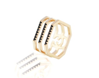 925 Sterling Silver - Octagon-shaped 3 Stack Ring (S405)