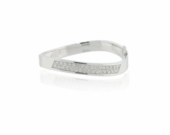 925 sterling silver CZ bangle bracelet (S15)