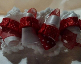Red and White Hair Clip