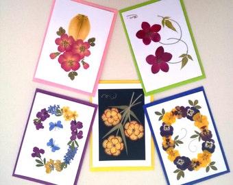 UK Pressed Flower Cards - Set of 5