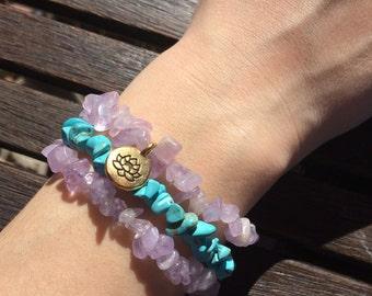 Amethyst & Turquoise Bracelet Set