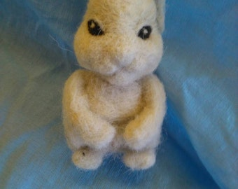 Needle felted bunny rabbit. Art doll. Decoration