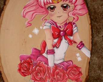 Hand drawn Anime Sailor Chibi Moon (Chibiusa) Handmade Hanging Wooden Plaque