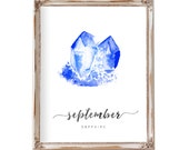 Nursery Wall Art, Birthstone Art, September, Nursery Art, Baby Gift, Birthstone Print, Birthstone Art, Birthday Art, Gemstone Art, Sapphire