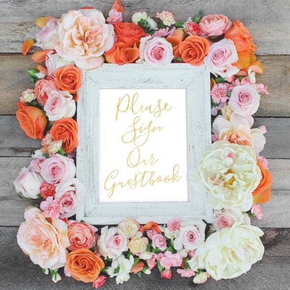 Printable Wedding Sign, Guest Book Sign, Please Sign Guestbook, 5x7, 8x10 Wedding Printable Art, Gold Wedding, Reception Printable, Custom