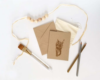 Set of 6 Caracal Embossed Blank Greeting Cards