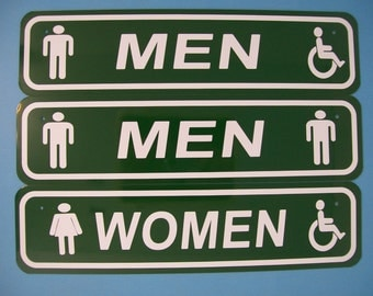 mens womens handicap accessible restroom sign 4x16 aluminum bathroom sign - Handicap Bathroom Signs