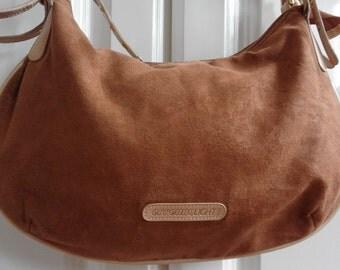 Suede Handbag, Brown color