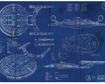 Star Trek Enterprise NX-01 Blueprint Art Print (A2 = 420mm*594 or 16.5' * 23.4')
