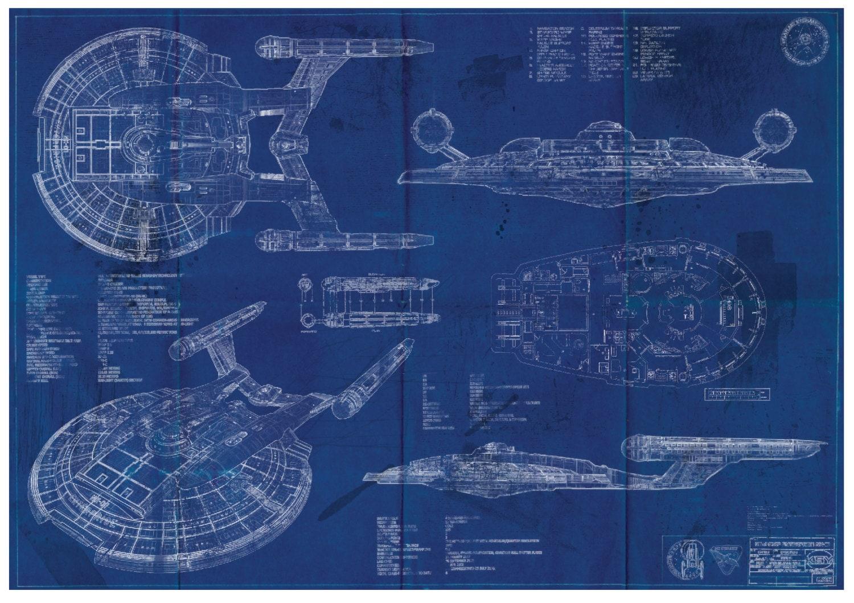 Star Trek Enterprise Nx 01 Blueprint Art Print A2 420mm594