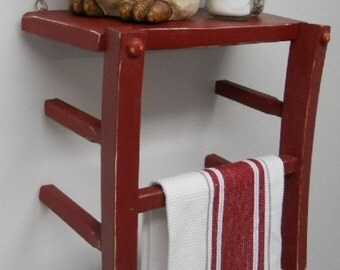 Red Shelf and Towel holder from repurposed solid wood chair
