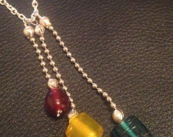 Glass bead drop necklace