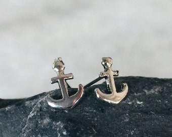 Sterling silver anchor ear studs, SIlver anchor earrings, Anchor ear studs, Minimalist earrings, Minimalist anchor jewellery (ES15)